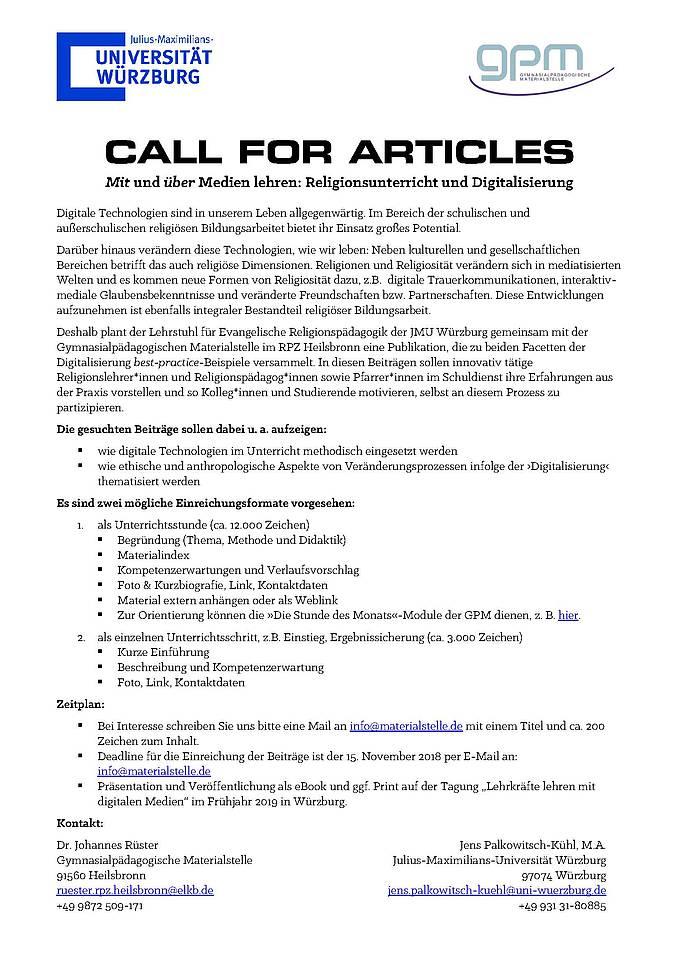 Call for Articles - Digitale Medien im Unterricht - Institut für ...
